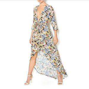Knot Sisters Floral Print Hi Low Hem Maxi Dress